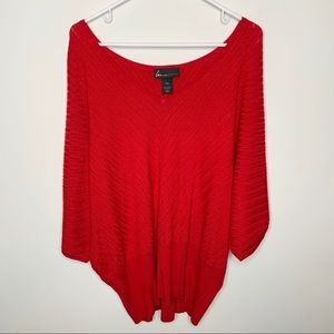Lane Bryant Red Scoop Neck Poncho Blouse 18/20